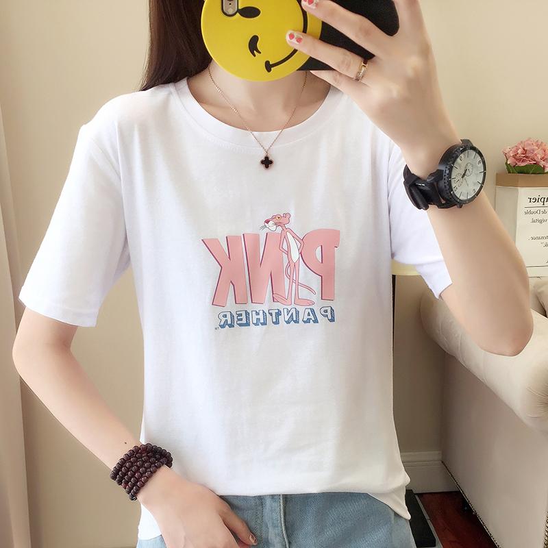 RANJU 然聚2018女装夏季新品新款短袖T恤女新款韩版学生宽松百搭白色体恤半袖圆领上衣