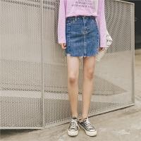 高腰牛仔短裙秋装女2019新款港风复古休闲包臀裙韩版气质半身裙子
