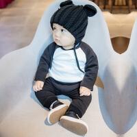 女婴儿内衣服0岁3个月1男6宝宝加绒加厚打底衫卫衣套装秋冬装冬季