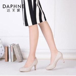 Daphne/达芙妮优雅细跟圆头纯色浅口女单鞋