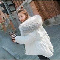 冬装短款韩版大毛领白色加厚收腰工装外套连帽棉衣棉袄女