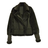 冬季韩版宽松加厚短款翻领鹿皮绒羊羔毛皮毛一体棉衣外套女潮