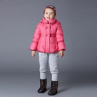 歌瑞家童装冬装女童女孩炫彩保暖羽绒服90%白鸭绒中长款