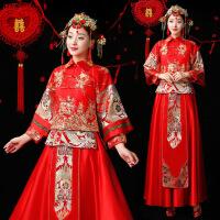 秋冬新款服新娘结婚中式礼服敬酒服秀和服龙凤褂裙嫁衣婚服 红色