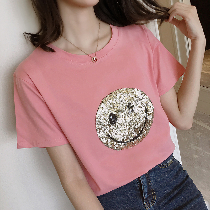 RANJU 然聚 2018女装新品新款夏季笑脸图案t恤短袖女体恤宽松韩版学生上衣潮
