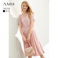 【到手价167.9元】Amii极简洋气法式度假连衣裙女2019夏新款拼蕾丝两件套雪纺裙子