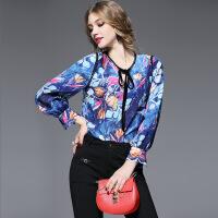 欧洲站女装2017春季新款圆领真丝衬衫水墨印花系带长袖上衣6099 蓝色