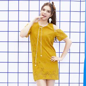 ZDORZI卓多姿夏装显瘦时尚百搭纯色蕾丝连衣裙734E191