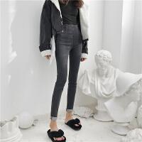 韩国复古chic风高腰修身显腿长百搭修身黑灰牛仔裤铅笔裤女小脚裤