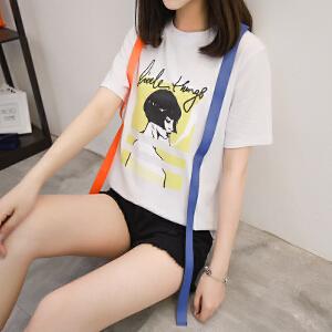 印花短袖T恤女装2018夏季新款韩版时髦宽松显瘦圆领纯棉上衣学生