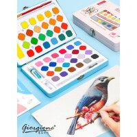 乔尔乔内48色新款鸟语系列固体水彩水粉画画颜料画笔套装学生用初学者美术生用儿童便携绘画用品可水洗无毒