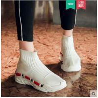 透气袜子鞋袜靴新款欧洲站老爹女厚底松糕高帮运动鞋针织