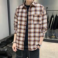 新款格子男衬衫宽松潮牌学生长袖休闲衬衣青少年男装外套寸衫