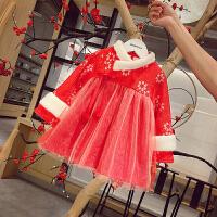 女宝宝冬装连衣裙新款女童加绒红色公主裙小女孩过年裙子