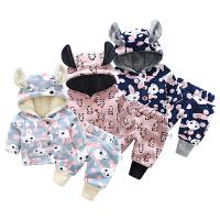 婴儿套装男童冬装加绒加厚保暖女童宝宝冬季套