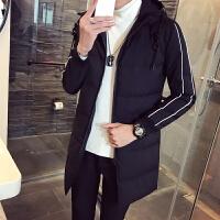 冬装男加厚外套韩版连帽服男中长款修身青年衣服潮男装