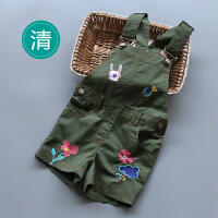 女童背带裤夏季新款童装女宝宝卡通刺绣休闲短裤连体裤子