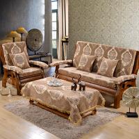 冬毛绒单人三人座实木沙发垫加厚木质沙发坐垫带靠背木沙发 四人180—200CM 需定做