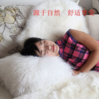 欧式整皮滩羊抱枕坐垫皮草抱枕套含芯真皮沙发床头靠枕羊毛靠垫 乳白色 纯白色