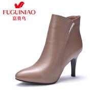 富贵鸟女鞋 秋冬新款及踝靴尖头高跟短靴 女靴短筒单靴