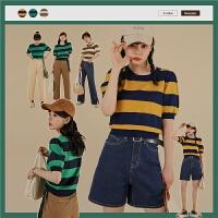 【5.8-5.9抢购价:140.4元】thenext条纹针织衫女2021年新款夏季薄款泡泡袖工装百搭学生上衣