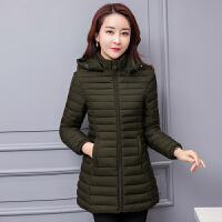 冬季棉衣女中长款加厚大码中老年羽绒棉袄女士简约妈妈装外套 XL 85-100