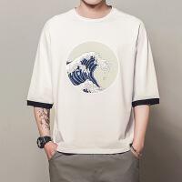 中国风男装印花七分袖T恤男加肥加大码宽松上衣潮胖子