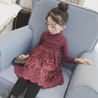 女童冬装连衣裙小女孩长袖蕾丝公主裙童装儿童秋冬新款裙子潮 酒红色