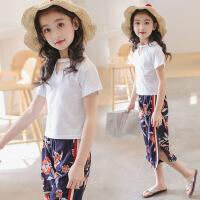 花样童依 童装套装2018夏季新款韩版女童阔腿裤套装中大童洋气短袖两件套