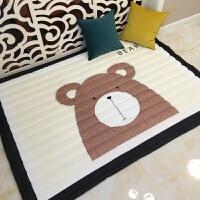 春夏布质婴儿爬爬垫儿童游戏垫地垫毯客厅卧室加厚防滑宝宝爬行垫 深棕色 加厚--熊HH 145*195cm