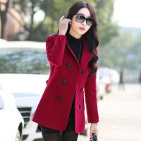 中老年毛呢外套女妈妈短款秋冬纯色30-40-50通勤修身双面呢子大衣