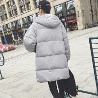 冬季外套男中长款情侣韩版面包服男加厚棉衣冬天衣服羽绒棉袄 银色 S