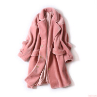 羊剪绒大衣女冬装新款 荷叶边落肩中长款宽松皮草外套