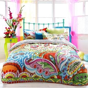 多喜爱MMK高迪 全棉套件印花民族风婚庆四件套床上用品