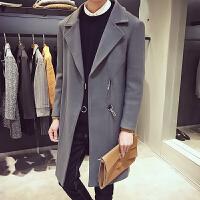 风衣男冬季中长款男士毛呢大衣韩版修身英伦呢子外套青年男装衣服 烟灰色 M
