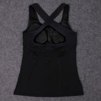 性感后背交叉跑步胸垫健身衣运动背心女 无袖透气修身瑜伽服