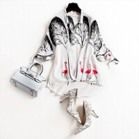 欧洲站女装夏新款印花真丝V领衬衫宽松不规则女式上衣5600 白色 X