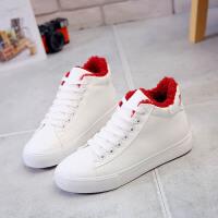 环球棉鞋女冬季保暖加绒韩版2017新款短靴学生休闲平底百搭小白鞋