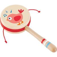 儿童节礼物 男孩新生悦动拨浪鼓0-6个月婴儿玩具 0-1岁宝宝新生儿波浪鼓木质 拨浪鼓
