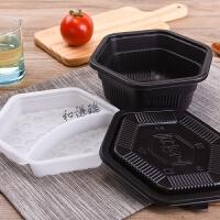 一次性餐盒黑色六边形双层打包盒加厚外卖套餐快餐便当饭盒 黑色六边形双层双格1050ml (100套)