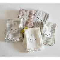 木耳边七分裤 女童夏季棉质弹力条纹打底裤 还带可爱小兔子刺绣