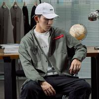 【1折价59.9元】唐狮秋季工装衬衫男长袖连帽oversizA