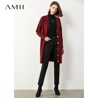 Amii�O�慵�屑t色毛衣外套2020秋冬新款��松中�L款�_衫女��衫