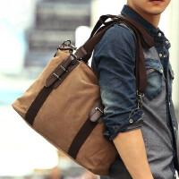 男士手提包电脑包横款帆布商务休闲韩版斜挎包旅行包潮 支持礼品卡支付