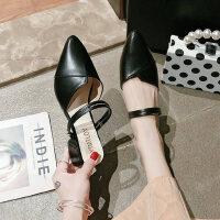 户外女士凉鞋拖鞋两穿气质百搭中跟鞋时尚黑色凉鞋女