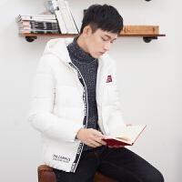 【2件1.5折】唐狮冬装新款羽绒服男韩版青少年时尚贴标修身连帽短款外套潮