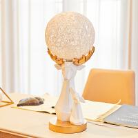 智茵 创意北欧麋鹿摆件客厅新婚结婚礼物闺蜜实用个性家居装饰礼品摆设新品 藤球折纸鹿台灯【鹿相伴】