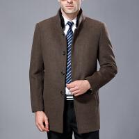 中年毛呢大衣男秋冬中长款羊毛呢子外套加厚男士立领休闲羽绒内胆