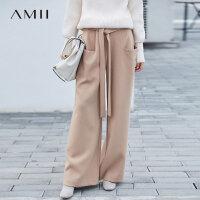 Amii[极简主义]现代感 阔腿休闲长裤女 2017冬装新款宽松腰带裤子