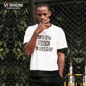 VIISHOW夏季男士短袖T恤潮字母格纹圆领体恤衫 青年半袖衣服男t恤